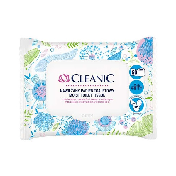 CLEANIC MOIST TOILET TISSUE WITH EXTRACT OF CAMOMILLE AND LACTIC ACID 60 PACK.jpg
